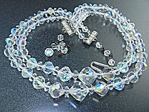 Borealis Crystal Rhinestone Double Strand Necklace