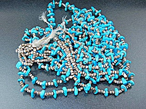 Navajo Sleeping Beauty Turquoise Heishi Four Strand Nec