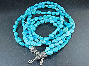Navajo Sleeping Beauty Turquoise Sterling Silver Neckla