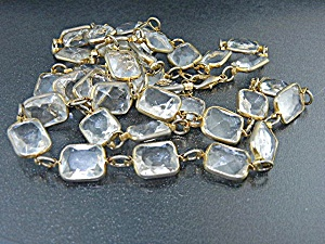 Gold Tone Clear Plastic Necklace 30 Inch
