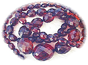 Necklace Rare Graduated Faceted Cherry Amber (Image1)