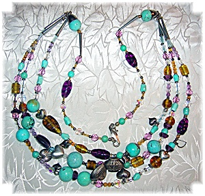 Turquoise & Glass Bead Treasure Necklace