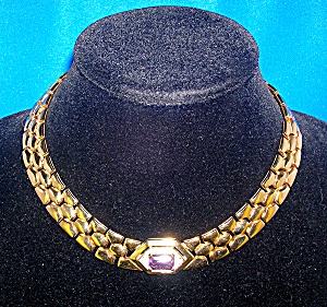 Panetta Gold Crystal Amethyst Necklace