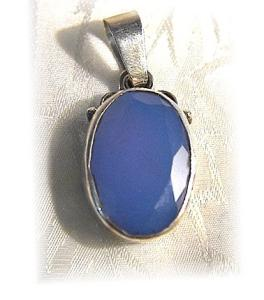 Sterling Silver Blue Facet Glass Stone Pendant