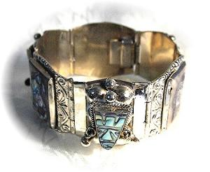 Mexican Sterling Silver Abalone Bracelet (Image1)
