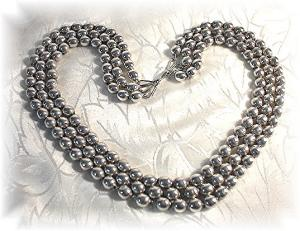 Sterling Silver Bead Triple Row Necklace