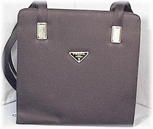 Prada Look 10 Inch Black Sateen Purse/bag