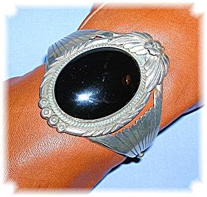 Carol Felley Sterling Silver Onyx Cuff Santa Fe Style (Image1)