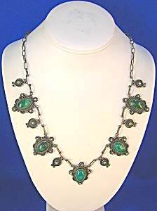 Steling Silver Malachite Necklace Mexico (Image1)