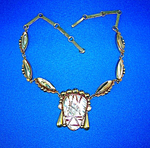 Necklace Signed HRM Sterling Silver Taxco Abalone  (Image1)