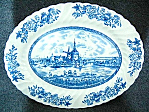 Johnson Bros China Tulip Time Pattern 12 inch Oval Plat (Image1)