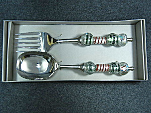 Foreside blown glass handled serving fork and spoon  (Image1)