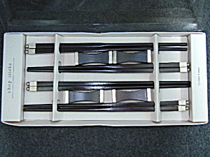4 Pair fancy chop stick in box with rests (Image1)