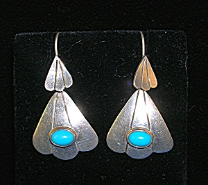 TaxcoSteling Silver and Turquoise Earrings TS-01 Mexico (Image1)