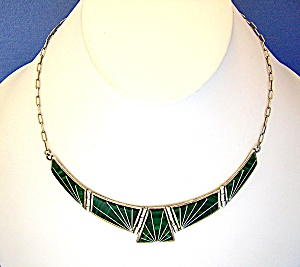 Navajo Sterling Silver Inlaid Malachite Teme M Necklace (Image1)