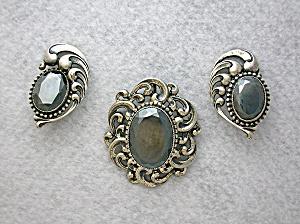 DANECRAFT Sterling Silver Hematite Brooch and Clip  Ear (Image1)