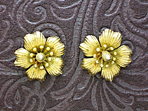 NAPIER Sterling Silver Gold Vermeil Hibiscus Clip Ears (Image1)