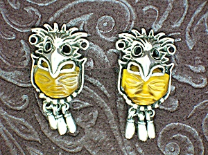 Sterling Silver Tigereye Dangle Clip Earrings Signed (Image1)
