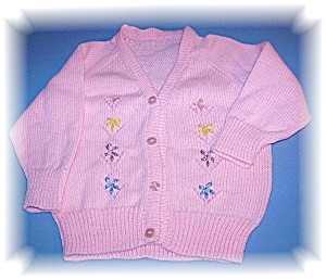 Pink Sweater Cardigan For Doll or Baby (Image1)