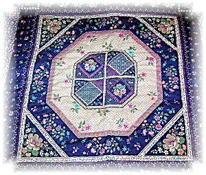Handquilted 41x46 Pink and Blue Quilt (Image1)