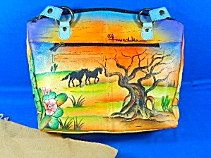 Anuschka Hand Painted  Ponies Leather Tote (Image1)