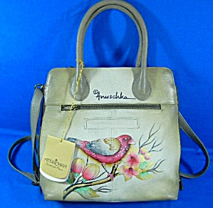 Anuschka Hand Painted Birds Grey Leather Cross Body
