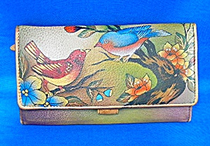 Anuschka Hand Painted Leather Love Birds Check Wallet