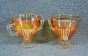Carnival glass Sugar and Creamer set Vintage Orange  (Image1)