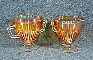 Carnival glass Sugar and Creamer set Vintage Orange  (Image1)