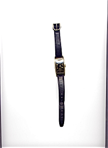 Bulova Black Face Tank 10K Gold Fill Wristwatch (Image1)