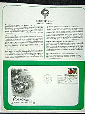 First day issue stamp, Christmas 1987 Seasons Greetings (Image1)