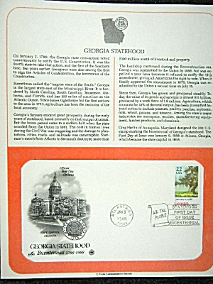 First day issue stamp,  1987 Georgia Statehood (Image1)