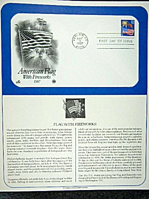 First Day issue stamp, American Flag with fireworks (Image1)