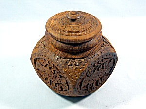 Vintage hand carved teak wood jar with lid - Birds (Image1)