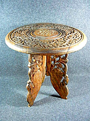 Vintage Hand Carved Table With Bone Inlay