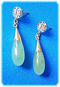 Earrings 14k Gold Jade Teardrop Pierced