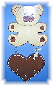 Wood Teddy Bear Decorative  Key Holder (Image1)