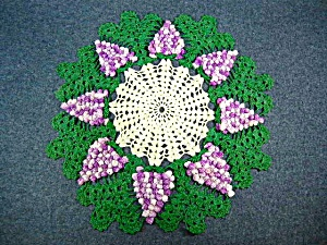 Vintage Classic Grape Pattern Crocheted Doily