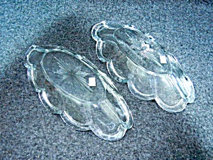 Pressed  Glass Spoon Holders Relish Dish Scalloped Edge (Image1)