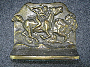 Bookends Buffalo Hunt Bronze 1930s USA (Image1)