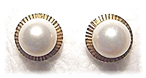 14K Gold  7mm Cultured Pearl Earrings (Image1)