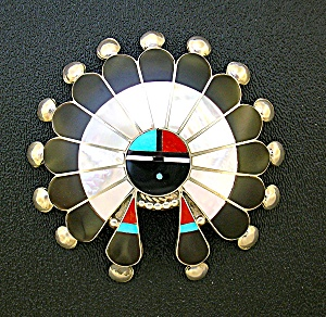 Native American Sterling Silver Onyx Turquoise Coral Pi (Image1)