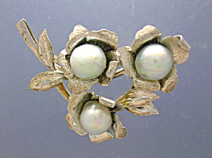 Grey Pearl Sterling Silver Flower Brooch (Image1)