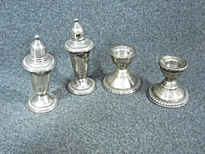 Sterling Silver Salt And Pepper And Candlestick Holders