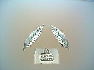 Sterling Silver Leaf Clip Earrings Denmark (Image1)