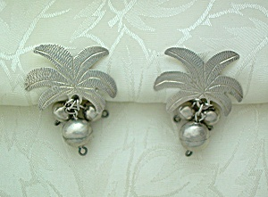 Silver Palm Leaf and Silver Balls Screwback Earrings (Image1)
