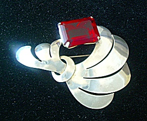 Sterling Silver Red Glass Art Deco Look Brooch (Image1)