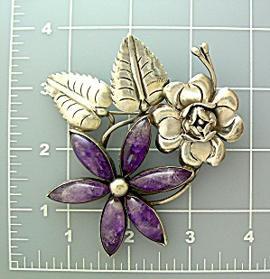 Brooch Sterling Silver Amethyst Leaves Flower Mexico