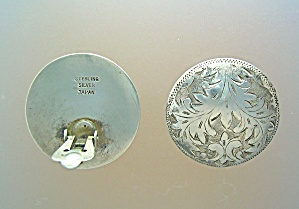 Sterling Silver Clip Earrings lacy Ferns Japan (Image1)