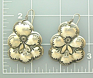 Sterling Silver American indian Pansy Earrings Signed (Image1)